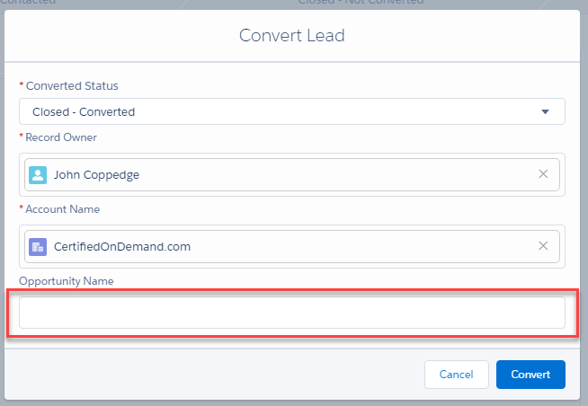 Configuring Salesforce Lead Conversion | Certified On Demand
